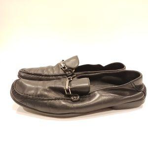 Hugo Boss black leather loafer silver 9.5